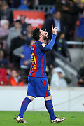 Lionel Messi of FC Barcelona celebrates after scoring his side's third goal during the Spanish championship Liga football match between FC Barcelona and Sevilla FC on April 5, 2017 at Camp Nou stadium in Barcelona, Spain. <br /> Photo Manuel Blondeau / AOP Press / ProSportsImages / DPPI