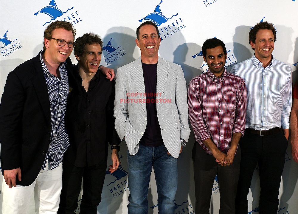 Jerry Seinfeld is seen at the Nantucket Film Festival, June 26,2011with from left, Colin Stanfield, Ben Stiller, Aziz Ansari and Seth Meyers. Staff photo by Mark Garfinkel