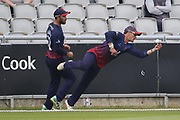 Lancashires Rob Jones amazing one handed catch on the boundary during the Royal London 1 Day Cup match between Lancashire County Cricket Club and Northamptonshire County Cricket Club at the Emirates, Old Trafford, Manchester, United Kingdom on 24 April 2019.