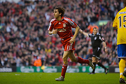 LIVERPOOL, ENGLAND - Saturday, January 26, 2008: Liverpool's Yossi Benayoun celebrates scoring his second goal of his hat-trick against Havant and Waterlooville during the FA Cup 4th Round match at Anfield. (Photo by David Rawcliffe/Propaganda)