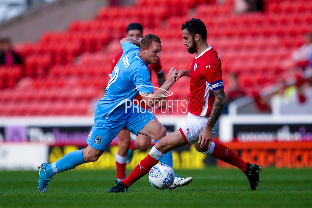 Coventry City forward Stuart Beavon (9) looks to go past the defender during the Pre-Season Friendly match between Barnsley and Coventry City at Oakwell, Barnsley, England on 18 July 2017. Photo by Simon Davies.