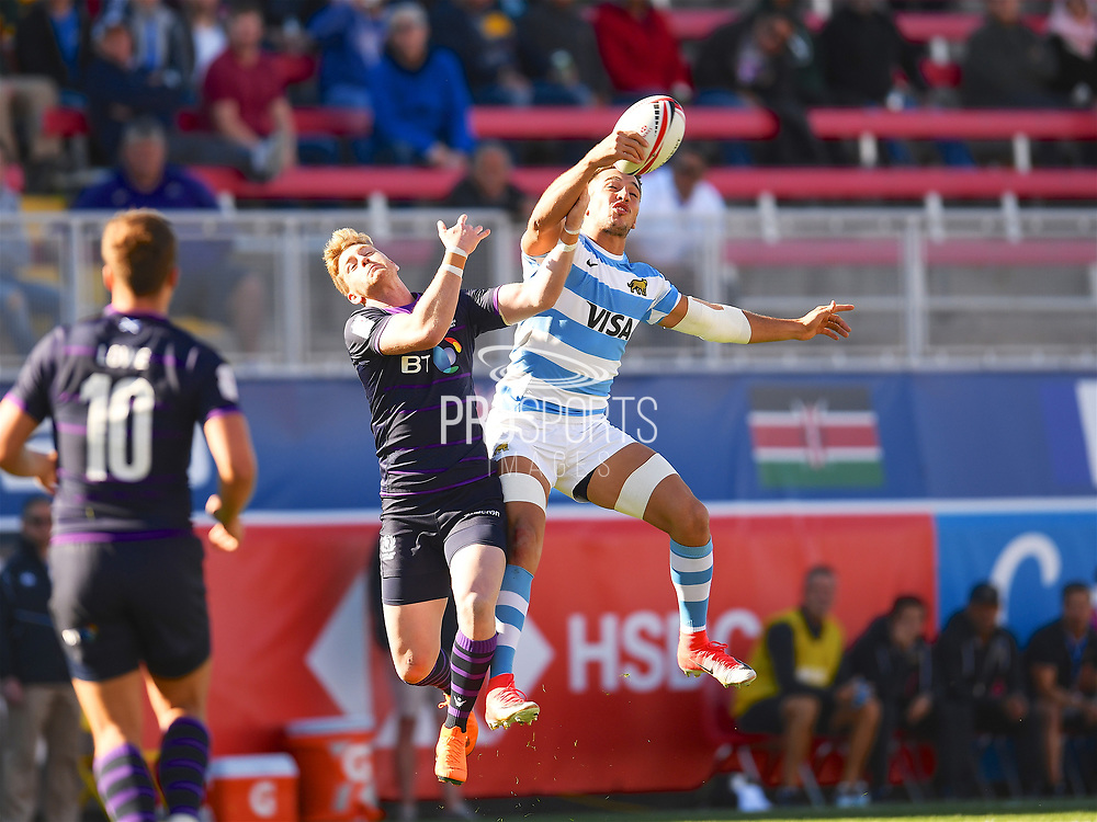 Argentina player Conrado Roura wins the high restart in the game Argentina vs Scotland during the USA Sevens Rugby Series at Sam Boyd Stadium, Las Vegas, USA on 2 March 2018. Picture by Ian  Muir.