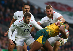 November 24, 2018 - London, England, United Kingdom - London, UK, 24 November, 2018.Australia's Samu Kerevi gets stopped by Brad Shields of England.during Quilter International between England  and Australia at Twickenham stadium , London, England on 24 Nov 2018. (Credit Image: © Action Foto Sport/NurPhoto via ZUMA Press)