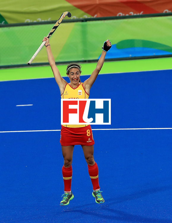 RIO DE JANEIRO, BRAZIL - AUGUST 11:  Carola Savatella celebrates a goal during a Women's Preliminary Pool A match against Germany at the Olympic Hockey Centre on August 11, 2016 in Rio de Janeiro, Brazil.  (Photo by Sam Greenwood/Getty Images)