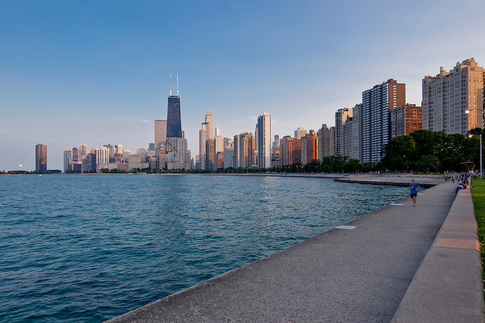 Chicago Skyline view form North Avenue Beach, Lake Michigan Waterfront, downtown office buildings, Lake Shore Drive, apartments, condo, codominiums, Oak Street Beach, Gold Coast, Michigan Avenue.