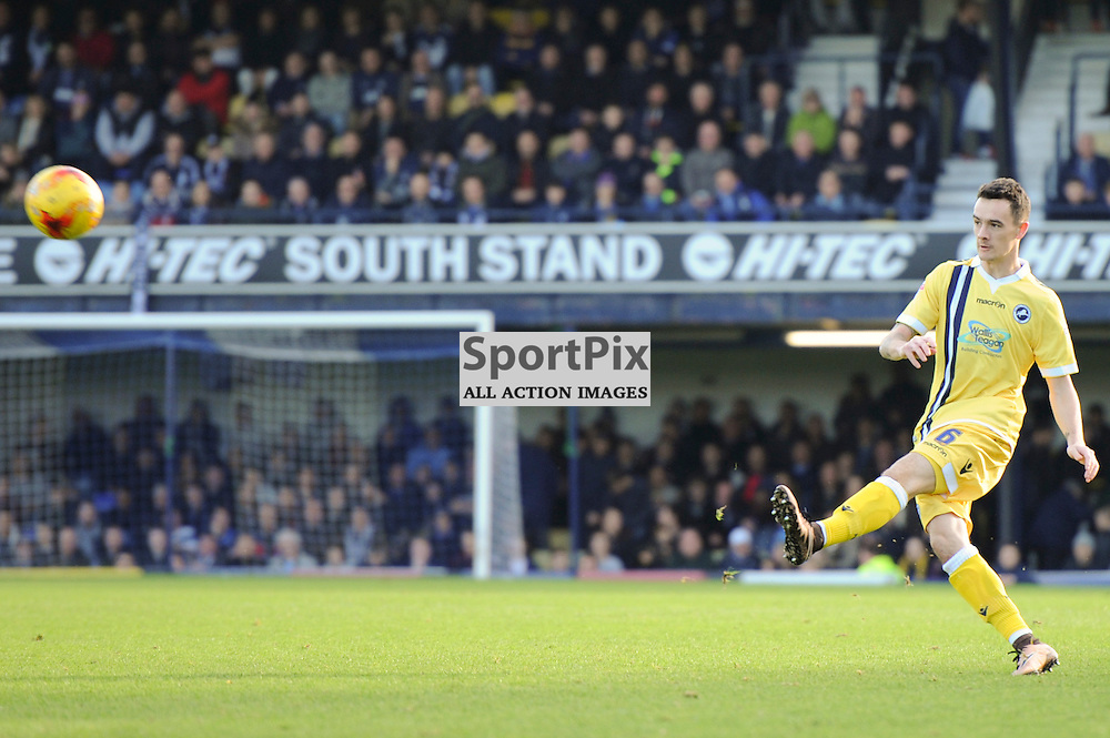 Millwalls Shaun Williams takes a free kick during the Southend v Millwall game in the Sky Bet League 1 on the 28th December 2015.