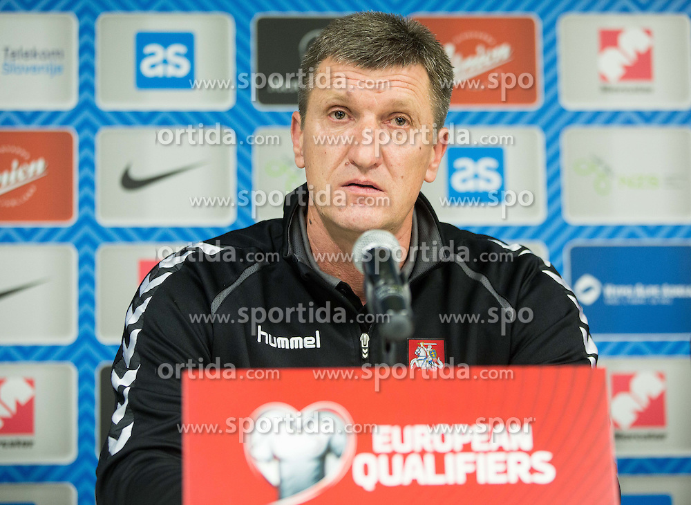 Igoris Pankratjevas, head coach during press conference before practice session of Lithuanian National Football team one day before Euro 2016 Qualifying game between Slovenia and Lithuania, on October 8, 2015 in SRC Stozice, Ljubljana Slovenia. Photo by Vid Ponikvar / Sportida