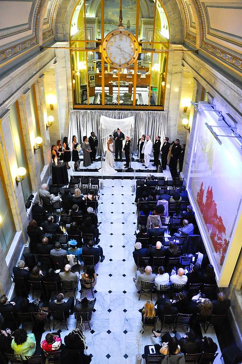 Uzoezi & Noam's wedding ceremony form the balcony, Merchant's Exchange, San Francisco
