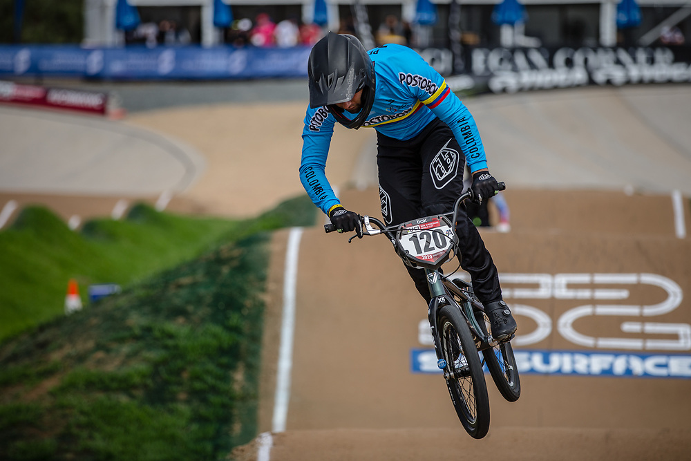 #120 (PELLUARD Vincent) COL at Round 2 of the 2020 UCI BMX Supercross World Cup in Shepparton, Australia.