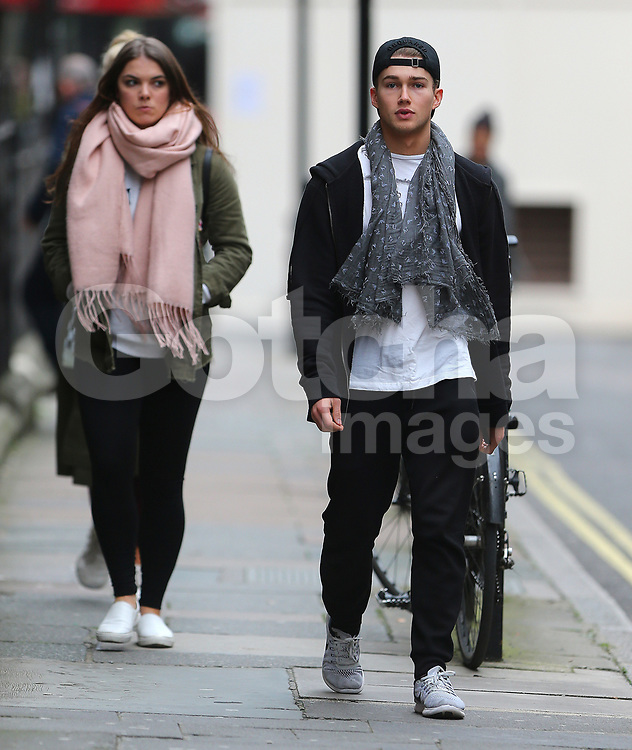Strictly Come Dancing partners AJ Pritchard and Mollie King take a break from rehearsals and go for lunch with AJ's professional dance partner Chloe Hewitt in London, UK. 08/11/2017<br />