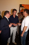Paul Kasmin, Hugh Grant and A.A. Gill, Tom Wesselmann, Hamiltons. 24 June 2003. © Copyright Photograph by Dafydd Jones 66 Stockwell Park Rd. London SW9 0DA Tel 020 7733 0108 www.dafjones.com