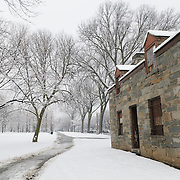 The Old Canal Keeper's House on the National Mall on a snowy winter's morning in Washington DC.