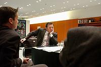 09 JAN 2002, BERLIN/GERMANY:<br /> Gerhard Schroeder, SPD, Bundeskanzler, und die Spiegel Redakteure Gabor Steingart (L), Hans-Joachim Noack (R), waehrend einem Interiew, Bundeskanzleramt<br /> IMAGE: 20020109-02-035<br /> KEYWORDS: Gerhard Schröder