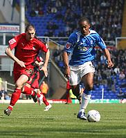 Photo: Mark Stephenson.<br /> Birmingham City v Coventry City. Coca Cola Championship. 01/04/2007.Birmingham's Cameron Jerome with Coventry's Colin Hawkins