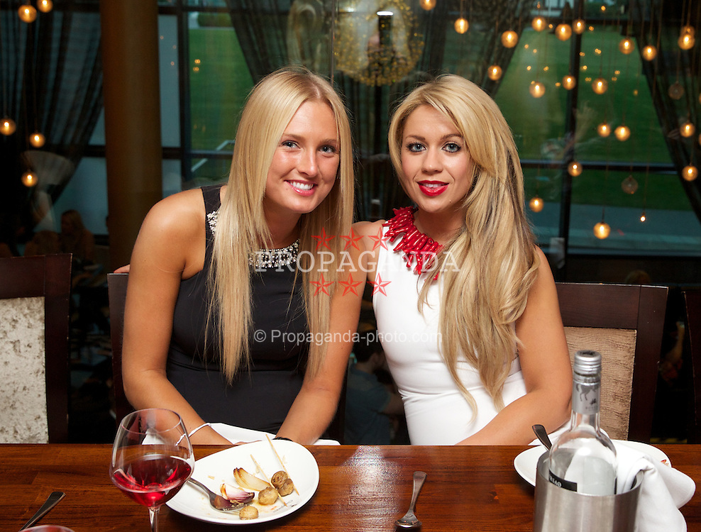 LIVERPOOL, ENGLAND - Friday, June 21, 2013: Georgina McLindon and Stephanie Rooney enjoy a night out at Chaophraya during Day Two of the Liverpool Hope University International Tennis Tournament at Calderstones Park. (Pic by David Rawcliffe/Propaganda)