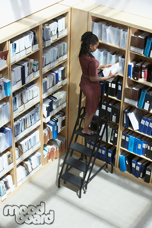 Office worker standing on ladder in file storage room elevated view back view