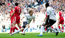 LONDON, ENGLAND - Sunday, September 18, 2011: Tottenham Hotspur's Luka Modric celebrates scoring the first goal against Liverpool during the Premiership match at White Hart Lane. (Pic by David Rawcliffe/Propaganda)