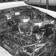 """Factory image of 1956 Studebaker Golden Hawk with """"Jet Streak"""" high performance package installation."""