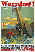 Warning! Consider the possible consequences if you are careless in your work'.  American World War I  poster, 1917, showing a biplane crashed in the ocean and survivors waiting for rescue.  Aircraft Accident USA  Air Warfare