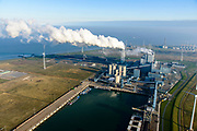 Nederland, Groningen, Eemshaven, 04-11-2018; energielandschap aan de Eemshaven met de kolengestookte elektriciteitscentrale Eemscentrale van RWE (voorheen RWE_Essent).<br /> Energy landscape at the Eemshaven with the coal-fired Eemscentrale power plant from RWE (formerly RWE_Essent).<br /> luchtfoto (toeslag op standaard tarieven);<br /> aerial photo (additional fee required);<br /> copyright&copy; foto/photo Siebe Swart