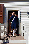 Williamsburg, VA - October 5, 2010: Robert Weathers preparing for a shift as an actor-interpretor in Colonial Williamsburg, Virginia on Tuesday, October 5, 2010.<br /> <br /> (Photo by Matt Eich/LUCEO for The Washington Post)
