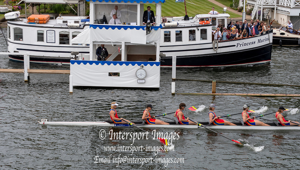 Henley on Thames, England, United Kingdom, Saturday, 06.07.19, The Scots College, Australia, AUS, crossing the line, winning the Semi-Final, of the Princess Elizabeth Challenge Cup, Henley Royal Regatta,  Henley Reach, [©Karon PHILLIPS/Intersport Images]<br /> <br /> 15:41:13 1919 - 2019, Royal Henley Peace Regatta Centenary,