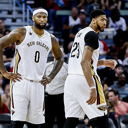 Mar 19, 2017; New Orleans, LA, USA; New Orleans Pelicans forward DeMarcus Cousins (0) and forward Anthony Davis (23) during the second half of a game against the Minnesota Timberwolves at the Smoothie King Center. The Pelicans defeated the Timberwolves 123-109. Mandatory Credit: Derick E. Hingle-USA TODAY Sports