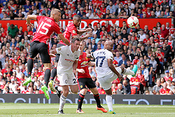 Manchester United's Nemanja Vidic (15) scores his side's first goal of the game during Michael Carrick's Testimonial match at Old Trafford, Manchester.