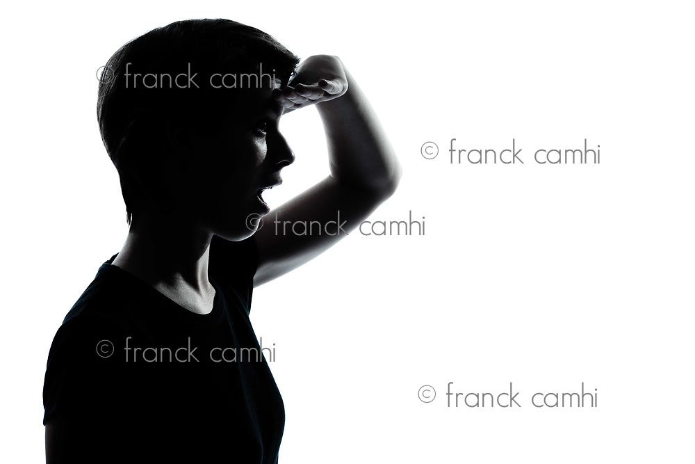 one caucasian young teenager silhouette girl  looking foward  portrait in studio cut out isolated on white background
