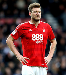 Nicklas Bendtner of Nottingham Forest looks frustrated after scoring an own goal - Mandatory by-line: Robbie Stephenson/JMP - 11/12/2016 - FOOTBALL - iPro Stadium - Derby, England - Derby County v Nottingham Forest - Sky Bet Championship
