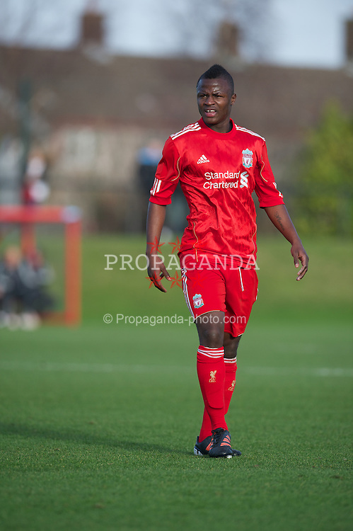 LIVERPOOL, ENGLAND - Saturday, January 21, 2012: Liverpool's Yalany Baio in action against Manchester City during the FA Premier League Academy match at the Kirkby Academy. (Pic by David Rawcliffe/Propaganda)