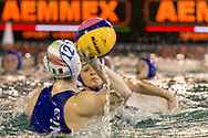 12 Laura BARZON ITA, 3 Dorotya SZILAGYI<br /> ITA v HUN Italy (white cap) versus Hungary (blue cap)<br /> FINA Women Water Polo World League qualification round<br /> Avezzano (AQ) Italy ITA Piscina Comunale Avezzano <br /> Centro Italia Nuoto  Unipol<br /> April 18th, 2017 <br /> Photo &copy;G.Scala/Deepbluemedia/Insidefoto