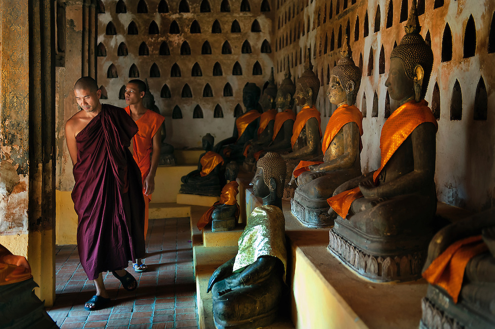 Visiting monks at Wat Sisakhet in Vientian, Laos.