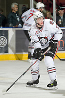 KELOWNA, CANADA, NOVEMBER 9: Locke Muller #27 of the Red Deer Rebels looks for the pass as the Red Deer Rebels visit the Kelowna Rockets  on November 9, 2011 at Prospera Place in Kelowna, British Columbia, Canada (Photo by Marissa Baecker/Shoot the Breeze) *** Local Caption ***