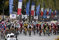 July 29, 2018 - Paris Champs-Elysees, France - PARIS CHAMPS-ELYSEES, FRANCE - JULY 29 : illustration picture of the peloton with THOMAS Geraint (GBR) of Team SKY during stage 21 of the 105th edition of the 2018 Tour de France cycling race, a stage of 116 kms between Houilles and Paris Champs-Elysees on July 29, 2018 in Paris Champs-Elysees, France, 29/07/18 (Credit Image: © Panoramic via ZUMA Press)