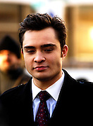 Ed Westwick appears on the set as Gossip Girls tapes in Lincoln Center in New York City on December 1, 2009.
