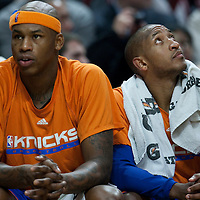 17 December 2009: New York Knicks forward Al Harrington sits next to Chris Duhom on the bench during the Chicago Bulls 98-89 victory over the New York Knicks at the United Center, in Chicago, Illinois, USA.