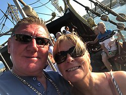 DAILY MIRROR Peter Crouch with his wife Lynne. He is battling with officials from the Dominican Republic for the return of his late wife's complete body after she passed away whilst on holiday on the island . Loughton, Essex, July 17 2019.