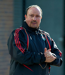 LIVERPOOL, ENGLAND - Wednesday, March 10, 2010: Liverpool's manager Rafael Benitez training at Melwood Training Ground ahead of the UEFA Europa League match against LOSC Lille Metropole. (Photo by David Rawcliffe/Propaganda)