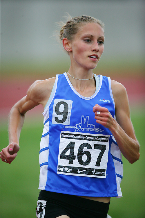 (Charlottetown, Prince Edward Island -- 20090718) Kendra Schaaf of Queen City Striders competes in the 3000m finals at the 2009 Canadian Junior Track & Field Championships at UPEI Alumni Canada Games Place on the campus of the University of Prince Edward Island, July 17-19, 2009.  Geoff Robins / Mundo Sport Images ..Mundo Sport Images has been contracted by Athletics Canada to provide images to the media.