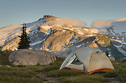 Backcountry camp near Middle Lakes, Eiley-Wiley Ridge seen in the distance. North Cascades National Park Washington