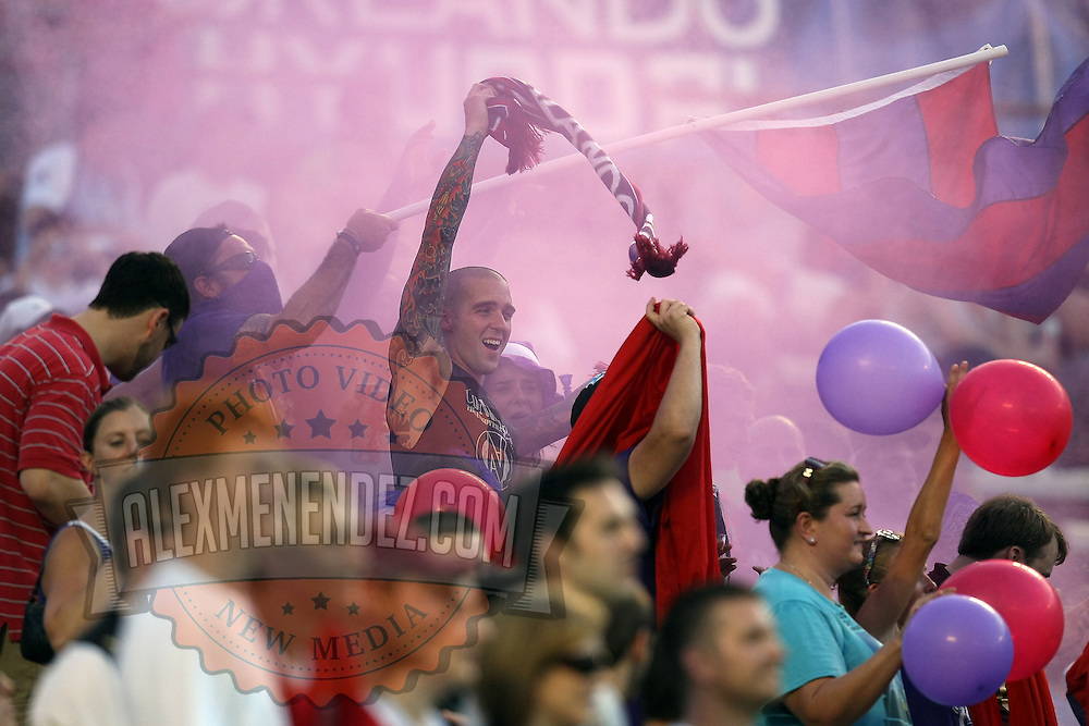 Orlando City fans chant during an International Friendly soccer match between English Premier League team Newcastle United and the Orlando City Lions of the United Soccer League, at the Florida Citrus Bowl on Saturday, July 23, 2011 in Orlando, Florida. Orlando won the match 1-0. (AP Photo/Alex Menendez)