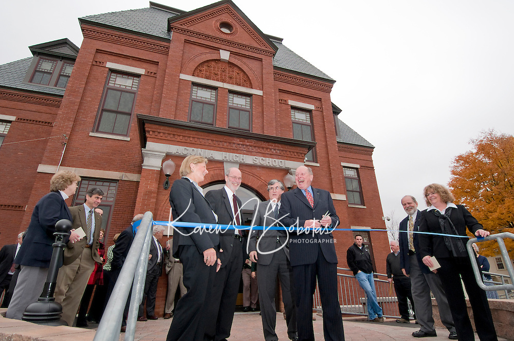 """Diane Lane Clerk Laconia District Court, Judge Edwin W. Kelly, Chief Justice John T Broderick, Jr., retired Judge David O. Huot  and (far right) Wanda Loanes Clerk Laconia Family Court enjoy a """"good day"""" on the steps of District Court for the ribbon cutting during the Laconia Courthouse Dedication Ceremony Friday morning.  (Karen Bobotas/for the Laconia Daily Sun)"""