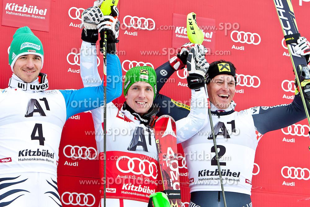 27.01.2013, Ganslernhang, Kitzbuehel, AUT, FIS Weltcup Ski Alpin, Slalom, Herren, Podium, im Bild  v.l.n.r. Felix Neureuther (GER, 2. Platz), Marcel Hirscher (AUT, 1. Platz) und Ivica Kostelic (CRO, 3. Platz) // f.l.t.r. 2nd place Felix Neureuther of Germany, 1st place Marcel Hirscher of Austria and 3th place Ivica Kostelic of Croatia celebrate on podium during the mens Slalom of the FIS Ski Alpine World Cup at the Ganslernhang course, Kitzbuehel, Austria on 2013/01/27. EXPA Pictures © 2013, PhotoCredit: EXPA/ Markus Casna