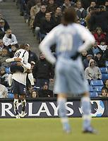 Photo: Aidan Ellis.<br /> Manchester City v Tottenham Hotspur. The Barclays Premiership. 17/12/2006.<br /> City's Georgis Samaras can only watch as Spurs Jermain Defoe jumps on second goal scorer Tommy Huddlestone