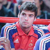 06 October 2010: France soccer player Yoann Miguel Gourcuff is seen during the Minnesota Timberwolves 106-100 victory over the New York Knicks, during 2010 NBA Europe Live, at the POPB Arena in Paris, France.