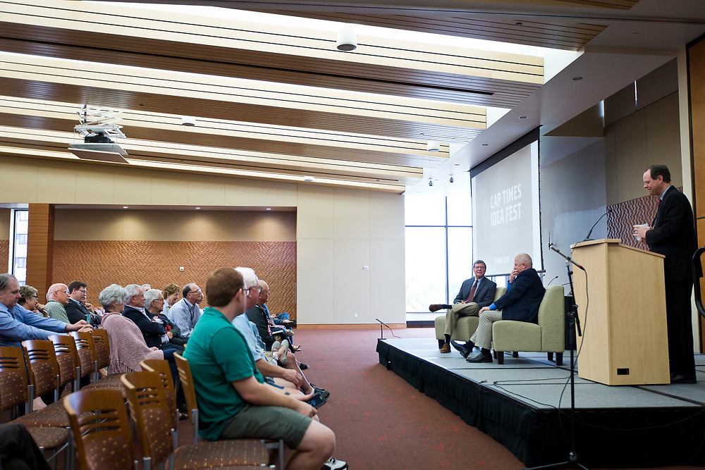 "Political analyst Charlie Sykes and Rick Essenberg speak on the panel ""How should the Right in Wisconsin navigate the Trump era?"" at the Cap Times 2017 Idea Fest, Sunday, September 17, 2017"
