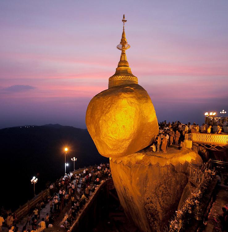 Kyaiktiyo Pagoda. The Golden Rock religious shrine, Myanmar.