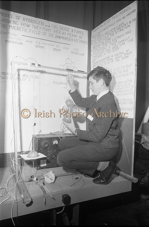 Young Scientists Exhibition.1969..01/01/1969.1st January 1969..The Aer Lingus Young Scientist Exhibition 1969 at the RDS..Picture shows Kyran O'Loughlin (16), a pupil from C.B.S Ennis finishing his exhibit which is a model of Hydrogen and Chlorine Atoms showing how they form HCL by means of the magnetic field of their electrons. .....