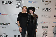 Fashion designer Gabrielle Arruda (r) and actress Kelly Rutherford (l) at Nolcha Fashion Week New York Fall-Winter 2014. Nolcha Fashion Week New York is a leading award winning event, held during New York Fashion Week, for independent fashion designers to showcase their collections to a global audience of press, retailers, stylists and industry influencers. Over the past six years Nolcha Fashion Week: New York has established itself as a platform of discovery promoting innovative fashion designers through runway shows and exhibition. Nolcha Fashion Week: New York has built an acclaimed reputation as a hot incubator of new fashion design talent and is officially listed by New York City Economic Development Corporation; offering a range of cost effective options to increase designers recognition and develop their business. (Photo: www.JeffreyHolmes.com)